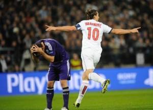 quatre buts à Anderlecht, pour Ibra en coupe d'Europe