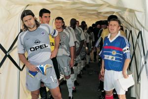 Pochettino et les Parisiens avant d'affronter le Tavria Simferopol, alors sous les couleurs de l'Ukraine