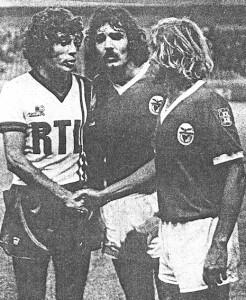 Humberto avec ses anciens coéquipiers de Benfica