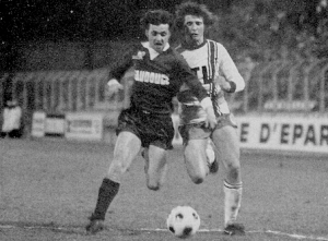Pilorget en duel avec Parizon lors d'un PSG-Lille