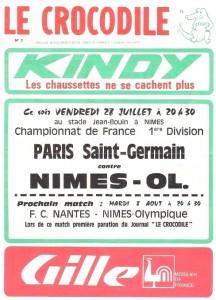 le programme du  match (collection La Mémoire du PSG)