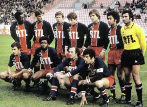 Le PSG face à Bordeaux. Debout : Adams, Pilorget, Douis, Bureau, Bathenay, Lokoli, Baratelli. Assis : Brisson, Laposte, C.Bianchi, Dahleb