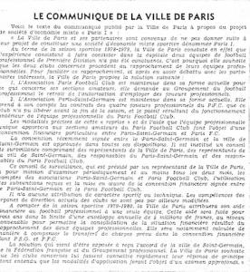 23 juin 1979 : le communiqué de la ville de Paris
