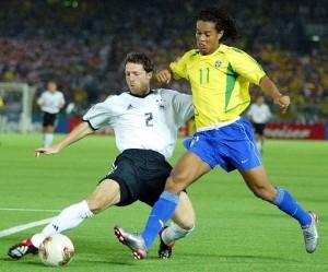 Ronaldinho lors de la finale 2002 face à l'Allemagne