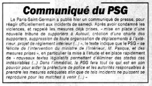 le communiqué officiel du PSG