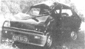 la voiture de Michel N'Gom après l'accident