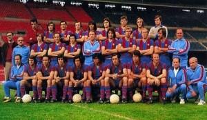 le FC Barcelone 1974-1975, entraîné par le Hollandais Rinus Michels