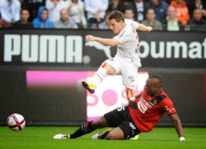 Kevin Gameiro buteur à Rennes le 13 août 2011 (score final 1-1)