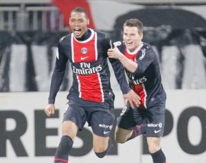 la joie d'Hoarau et Gameiro à Lyon, le 25 février 2012