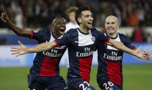 la joie de Pastore après la victoire du PSG contre Chelsea, le 29eme match consécutif sans défaite au Parc des Princes