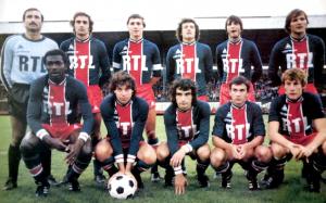le PSG victorieux face aux Verts. Debout : Baratelli, Renaut, Morin, Garceran, Pilorget, Bathenay. Assis : Toko, Huck, Rocheteau, Brisson, Fernandez