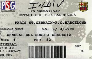 le ticket du match au Camp Nou