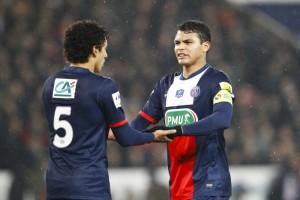 Comme David Luiz, Marquinhos  et Thiago Silva ont inscrit leur premier avec le PSG en Ligue des champions