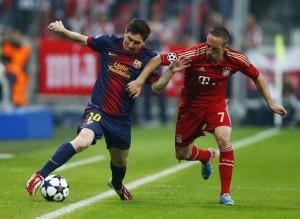 le grand absent du top 10 : le Barca de Messi, vaincu par le Bayern de Ribery