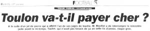 le titre de l'équipe après l'arrêt du match à Toulon