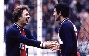 la joie de Cardinet et Dahleb, buteurs à Brest en 1980