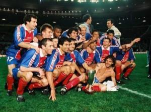 la joie des Parisiens en Coupe de la Ligue pour la première finale au SDF en 1998