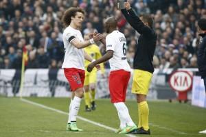 l'entrée en jeu à Bordeaux, en remplacement de David Luiz