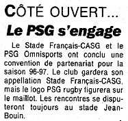 l'article confirmant le rapprochement entre le PSG et le Stade Français