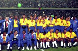 la belle équipe du Brésil en 1997 avec Ronaldo, Romario et consorts...