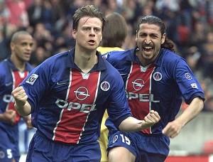 la joie de Christian Wörns après son dernier but pour le PSG, face au Havre