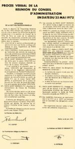 le procès verbal de la scission, signé le 20 juin 1972