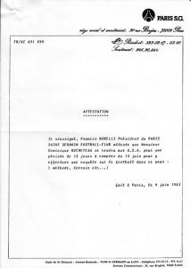 le courrier de Francis Borelli pour Dominique Rocheteau