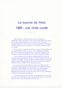 le programme du Tournoi de Paris
