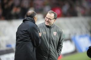 Kombouare et Bielsa, alors entraîneur de l'Athletic Bilbao