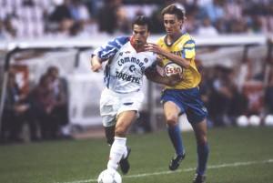 Ginola face à Sochaux en 1992 lors de la saison record du PSG