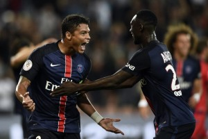 la joie des Parisiens Thiago Silva et Augustin face à Ajaccio en 2015