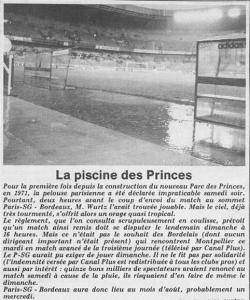 l'article de L'Équipe après le déluge sur le Parc