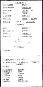 la liste des premiers stagiaires et aspirants logés par le club