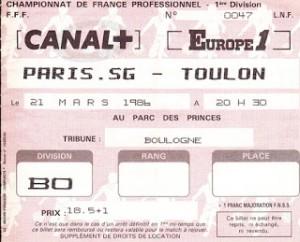 le ticket du match, avec une date décalée