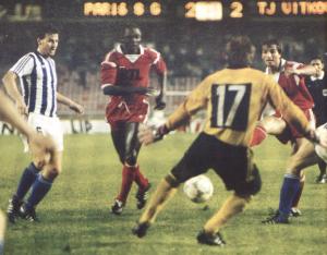 Bocandé et Pilorget lors du premier match en C1, en 1986 face à Vitkovice