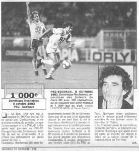 l'article du Parisien, se servant de mon modeste travail, avant le 2000eme but du PSG signé Okocha en 1998