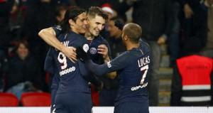 Trois des buteurs parisiens face à Lorient : Cavani, Meunier et Lucas