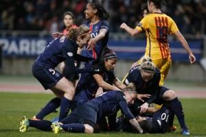 la joie des Parisiennes face au Barca la saison dernière