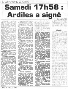 l'article de presse confirmant la signature d'Ardiles et le match amical