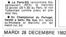 28 décembre 1982 : match annulé...