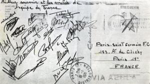 la carte postale de Tchouki et des Bleus au PSG