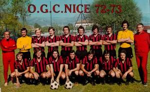 l'OGC Nice 1972-1973 avec les futurs parisiens Baratelli, Douis, Huck et Sanchez