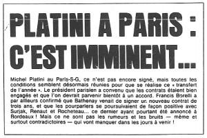l'annonce du prochain transfert de Platini au PSG