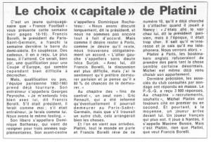 le choix capitale de Platini