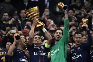la dernière finale victorieuse du PSG foot, contre Monaco (3-0) en Coupe de la Ligue