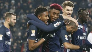 la joie pour son premier but avec les Pros, contre Bastia en Coupe de France (7-0, le 7 janvier 2017)