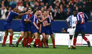 La joie de Le Guen après son but décisif  lors de la finale de la Coupe de France face à Strasbourg en 1995