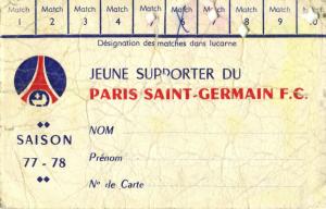 la carte d'abonné des jeunes supporters du PSG