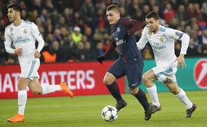 Marco Verratti en duel face au Real lors du dernier match à Paris