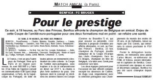 """la présentation du match dans le quotidien """"L'Equipe"""""""